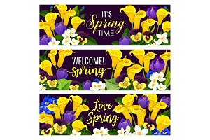 Spring Holiday floral banner with blooming flower
