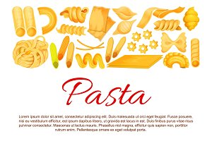 Vector Italian pasta sorts poster