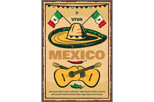 Cinco de Mayo Mexican vector sketch retro poster