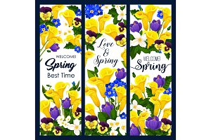 Welcome Spring greeting banner of blooming flower
