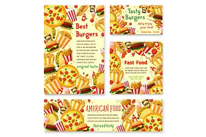 Vector fast food restaurant menu posters