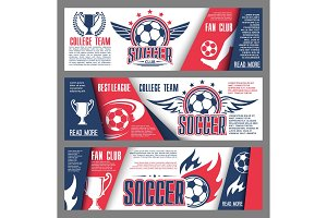 Vector soccer or football college team banners