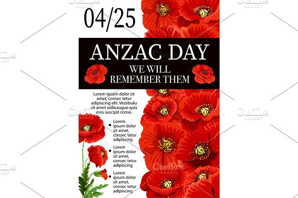 Anzac Day Lest We Forget Remembrance Vector Poster