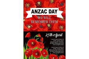 Anzac Day poppy flower memorial poster design