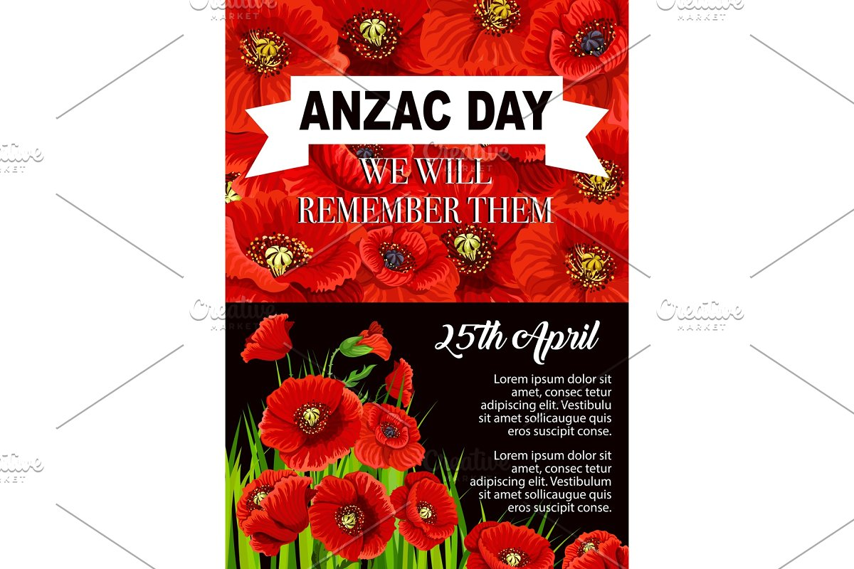 Anzac Day Poppy Flower Memorial Poster Design Custom Designed