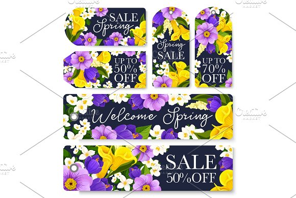 Vector Springtime Sale Shopping Tags Of Flowers