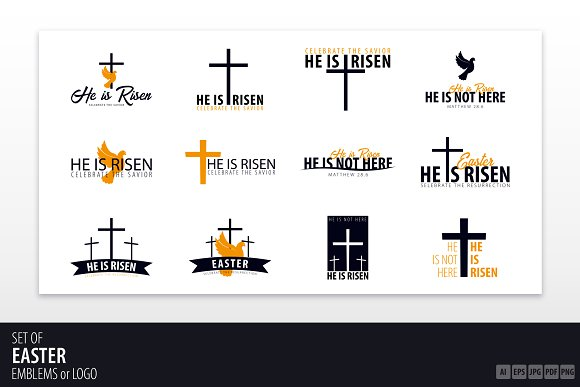 He Is Risen Easter Emblems Logo