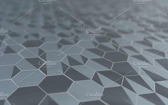 Abstract 3D Rendering Of Futuristic Surface With Hexagons