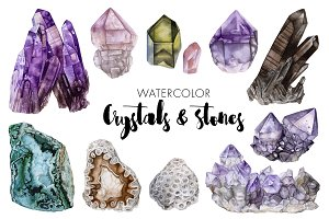 Watercolor Crystals & Stones