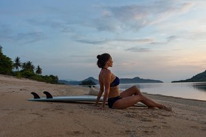 sexy bikini surfer girl