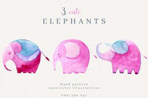 Cute Watercolor Elephants