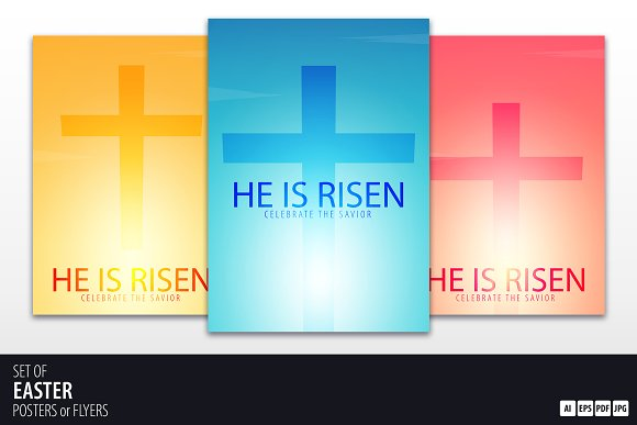 He Is Risen Church Posters Flyers