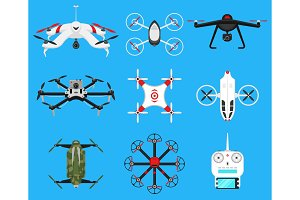 Set of modern air drones, quadrocopters and remote control. Science and Modern technologies. Vector illustration. Radio robot or airplane with a camera in the air. Innovative systems and developments.