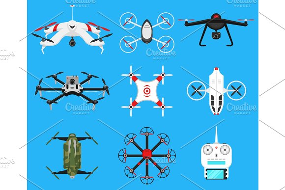Set Of Modern Air Drones Quadrocopters And Remote Control Science And Modern Technologies Vector Illustration Radio Robot Or Airplane With A Camera In The Air Innovative Systems And Developments