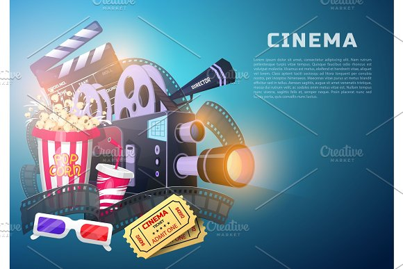 Movie Elements Set Vintage Cinema Entertainment And Recreation With Popcorn Retro Poster Background Clapperboard And Camera Filmmaking And Video Cassette Chair Film Stock For Hollywood Studio