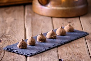 Truffles chocolate tabletop wood