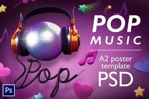 Pop music - PSD poster template