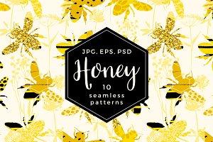 10 Honey seamless patterns.