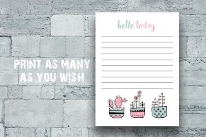 Cute Succulent Daily Planner