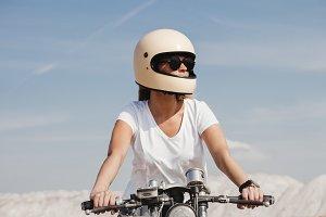 hot daring girl riding motorcycle