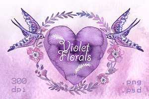 Violet Florals. Watercolor elements
