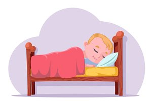 Cute cartoon boy sleep in bed good