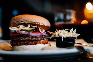 Delicious fresh burger and salad