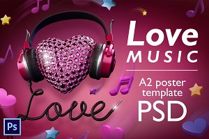 Love music - PSD poster template