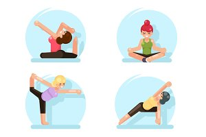 Yoga cute girls fitness poses flat