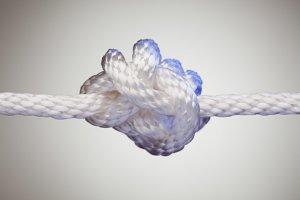 Nylon Rope Knot in Blue Spotlight
