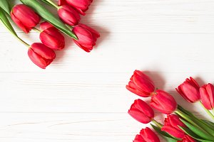 Bouquet of red tulips. Copy space