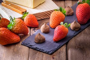 chocolate truffles and Strawberry