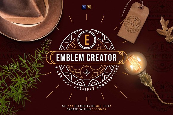 Emblem Creator all in one file -50% in Logo Templates