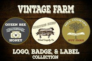 Rustic Vintage Farm Logo Vectors