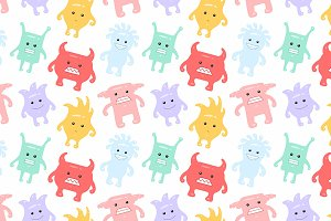 Colorful seamless monsters pattern
