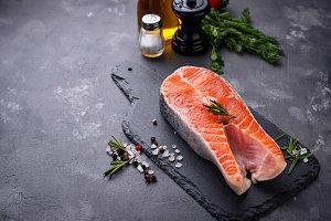 Fresh salmon steak with spices