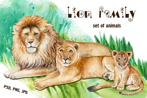 Lion Family. Watercolor