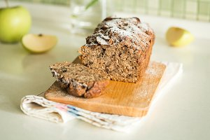 fresh apple cake with cinnamon