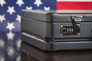Briefcase and American Flag