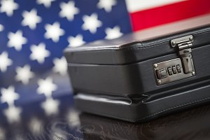 American Flag and Briefcase