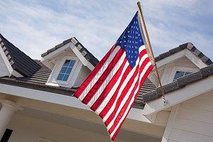 House Facade & American Flag