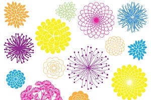Rainbow Flowers Vectors & Clipart