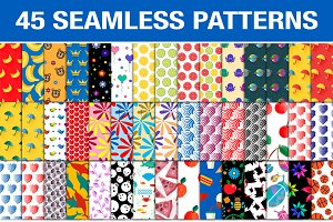 Set of 45 seamless patterns