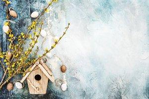 Easter eggs birdhouse decoration
