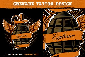 Grenade Tattoo Design