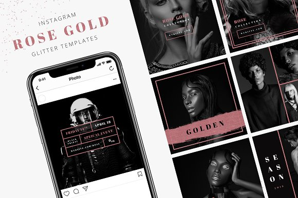 Instagram Glitter Rose Gold Pack