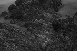 Seascape in Costa brava bw