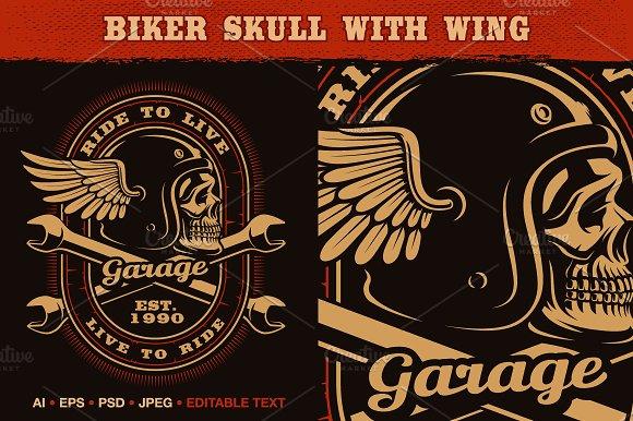 Biker Skull With Wing