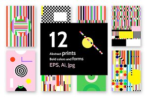 12 geometric PRINTS. 60's style