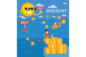 Discount vector infographics